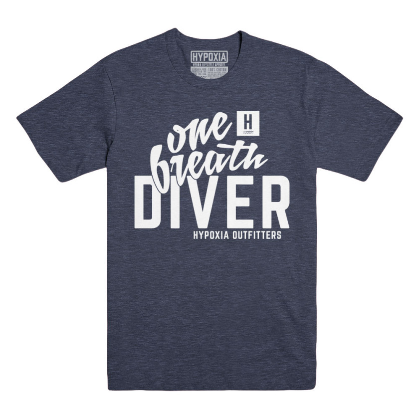 Hypoxia Spearfishing & Freediving One Breath Diver Navy White T-Shirt
