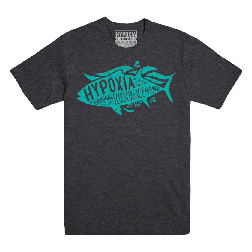 Hypoxia Spearfishing & Freediving Subsurface Mayhem Charcoal Turquoise T-Shirt