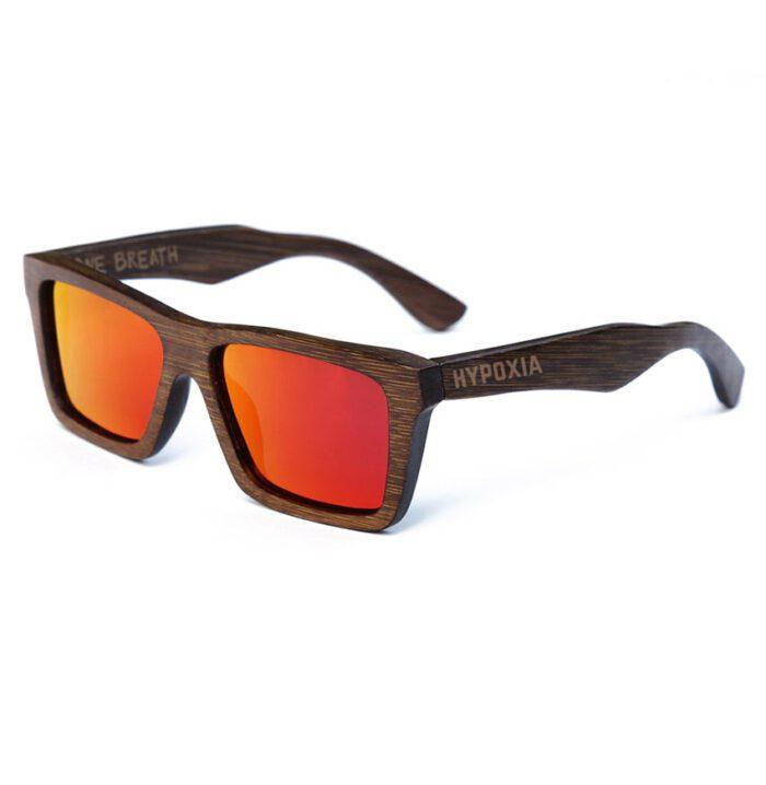 Hypoxia Freediving Spearfishing Bamboo Floating Polarized Sunglasses, Kaku Red