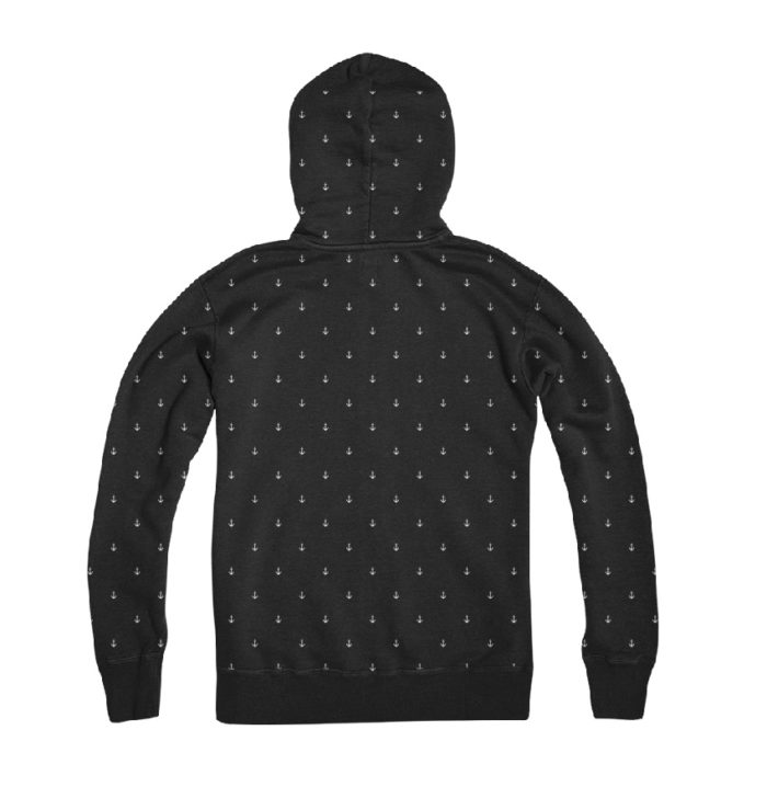Hypoxia Freediving Spearfishing Anchors Away Pattern Hoodie Black Back