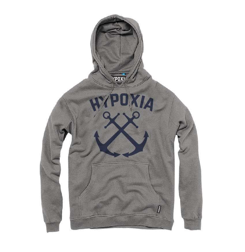 Hypoxia Freediving Spearfishing Crossed Anchor Hoodie Grey FRONT