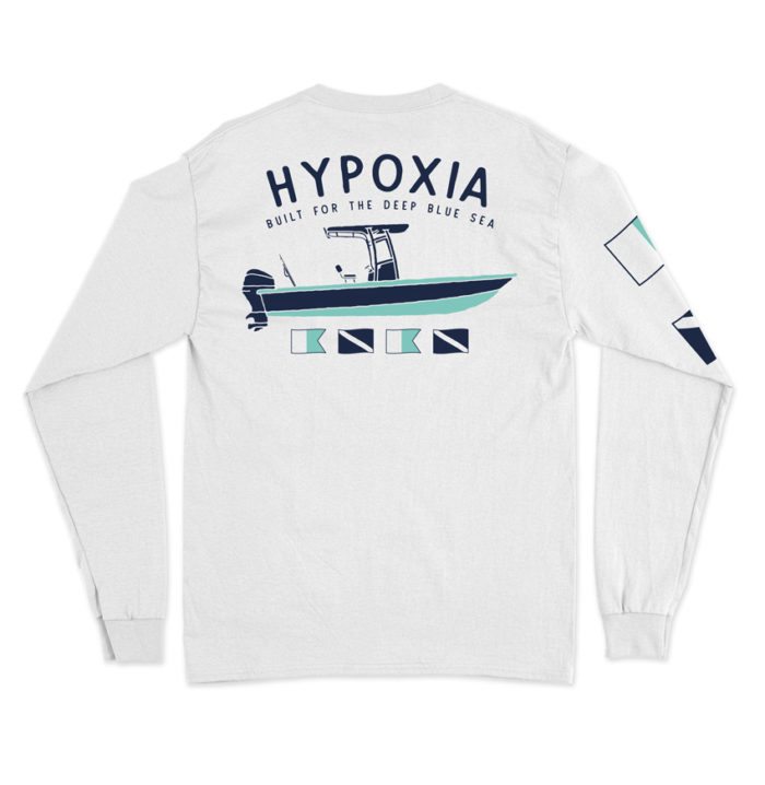 Hypoxia Freediving Spearfishing Gun Boat Longsleeve Tshirt White Back