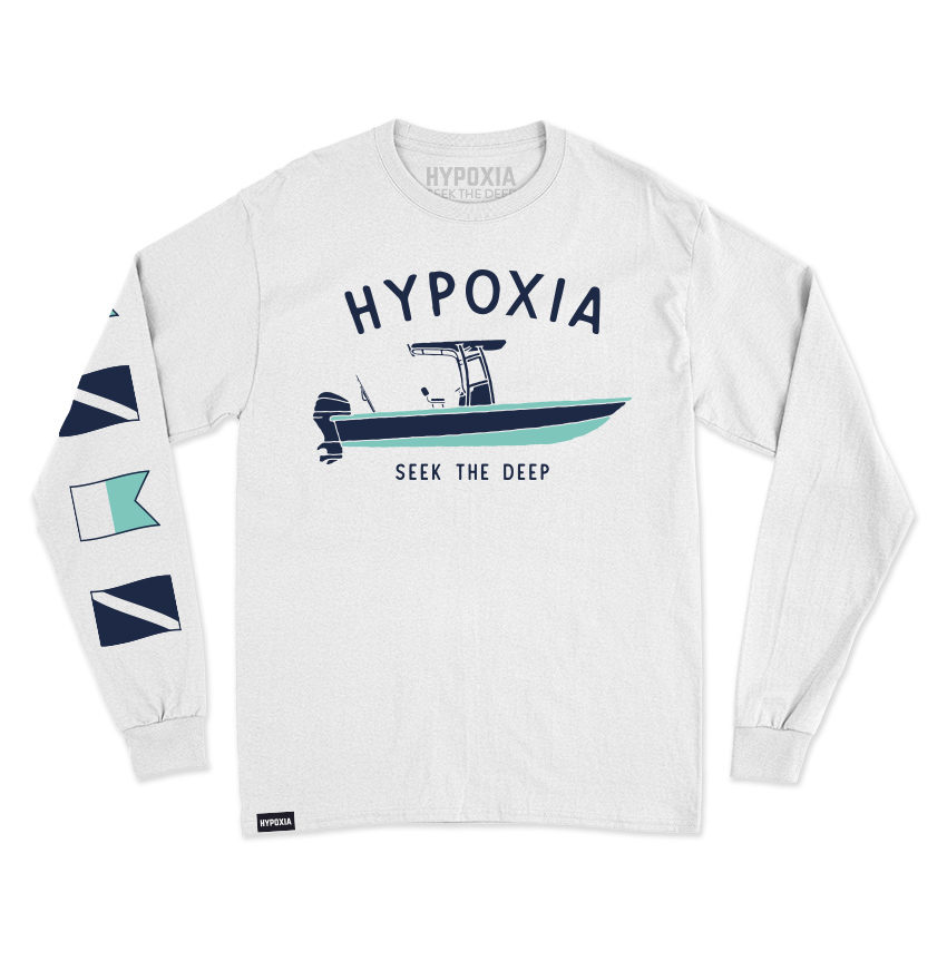 Hypoxia Freediving Spearfishing Gun Boat Longsleeve Tshirt White Front