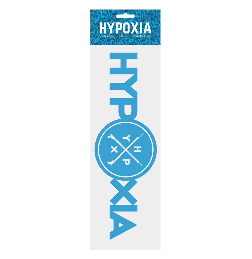 Hypoxia Freediving Spearfishing Iconography Decal Blue