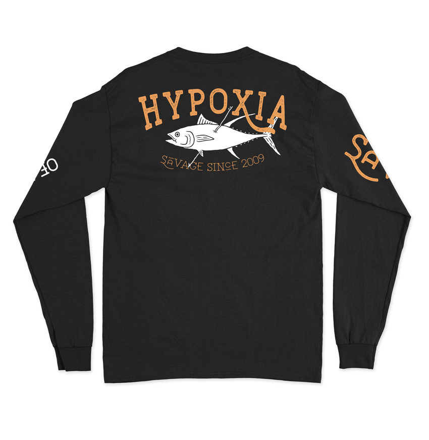 Hypoxia Freediving Spearfishing Straight Savage Longsleeve Tshirt Black Back