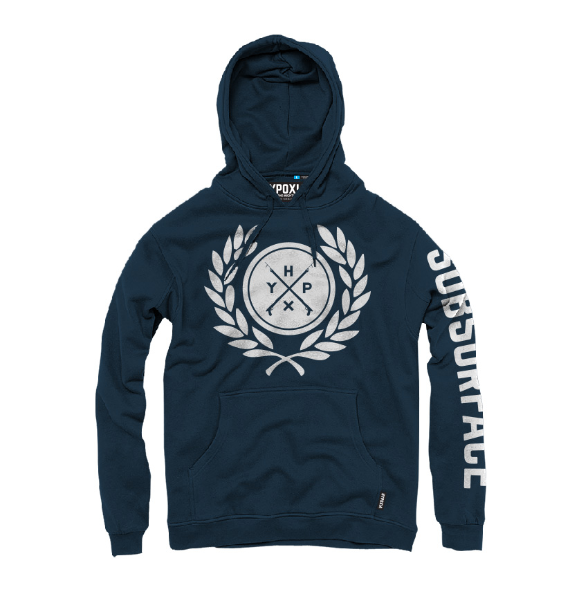 Hypoxia Freediving Spearfishing Subsurface Laurels Hoodie Navy FRONT