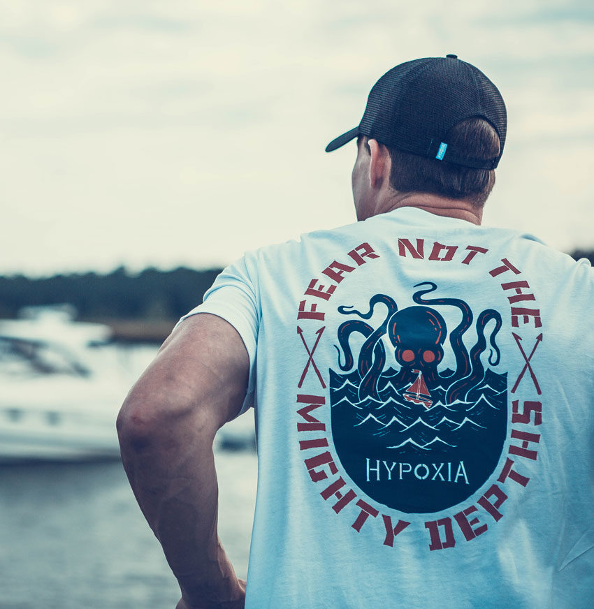 Hypoxia Freediving Spearfishing Fear Not the Mighty Depths Octo Tshirt Model