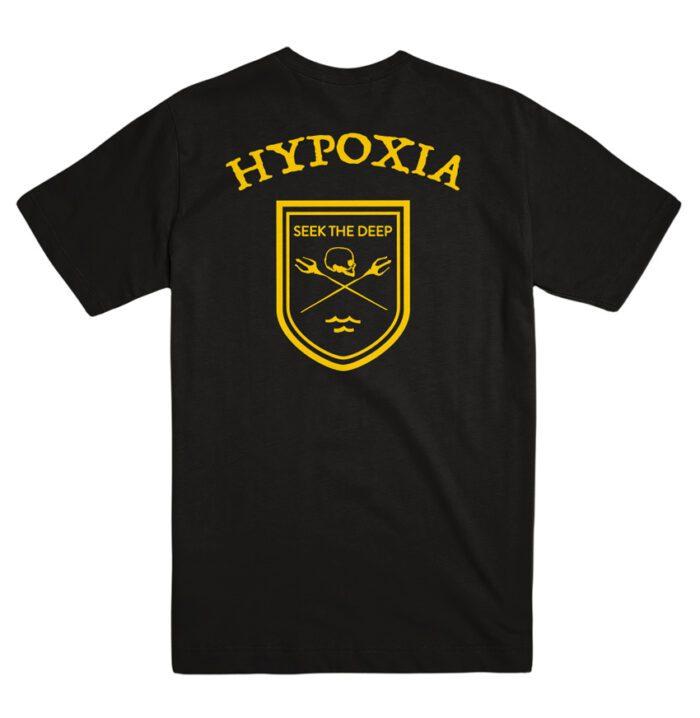 Hypoxia Freediving Spearfishing Seek the Deep Badge Tshirt Black, Back