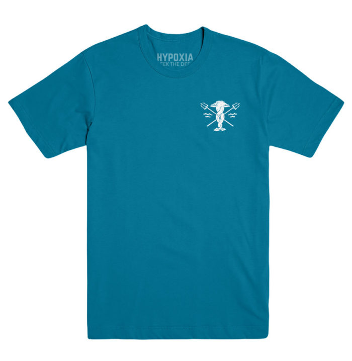 Hypoxia Freediving Spearfishing Seek the Deep Eels Tshirt Teal, Front