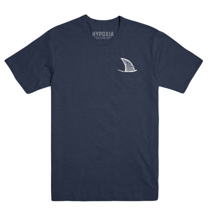 Hypoxia Freediving Spearfishing Seek the Deep Shark Jaws Tshirt Navy, Front