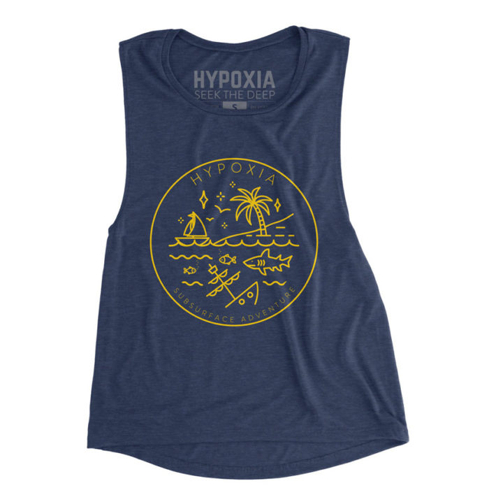 Hypoxia Freediving Spearfishing Subsurface Adventure Badge Womens Tank Navy, Front