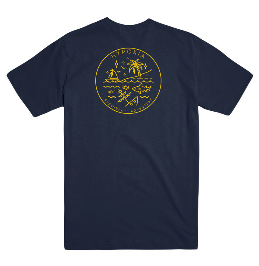 Hypoxia Freediving Spearfishing Subsurface Adventure Badge Tshirt Navy, Back