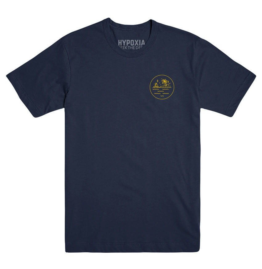 Hypoxia Freediving Spearfishing Subsurface Adventure Badge Tshirt Navy, Front