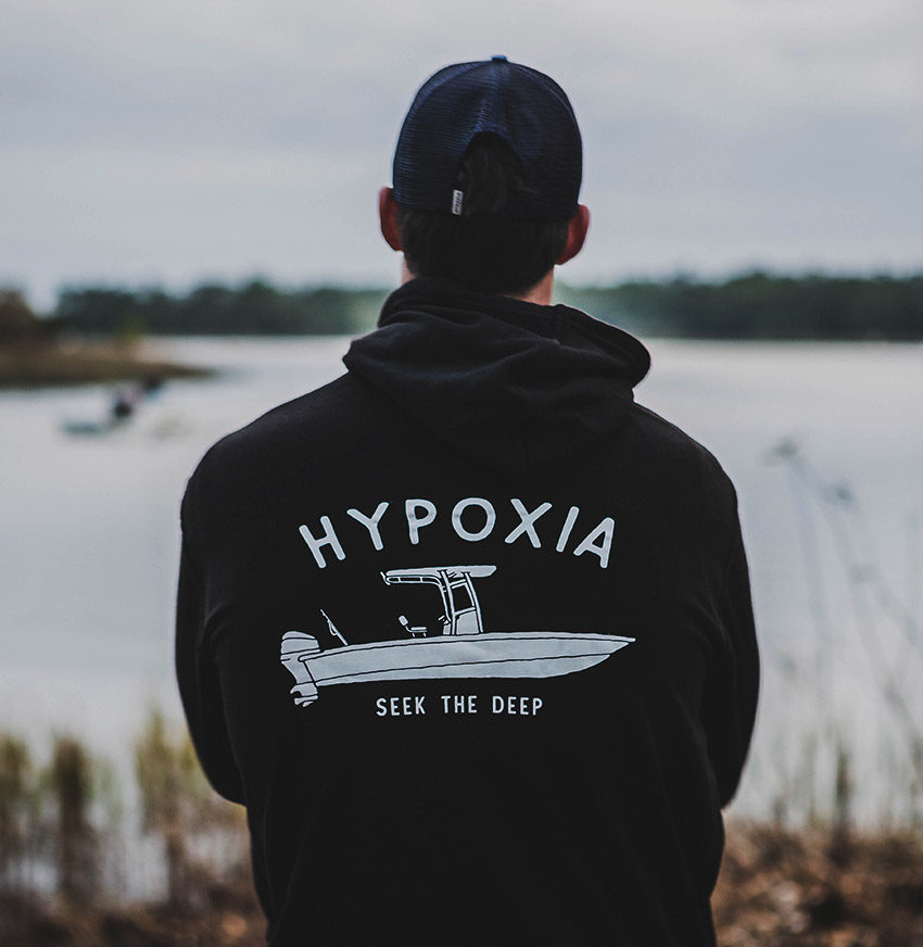 Hypoxia Freediving Spearfishing Gun Boat Hoodie Black Back Model