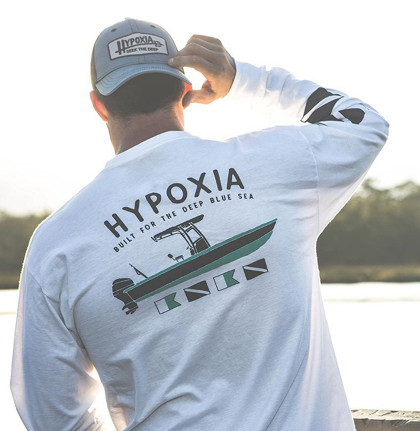Hypoxia Freediving Spearfishing Gun Boat Longsleeve Tshirt White Back Model