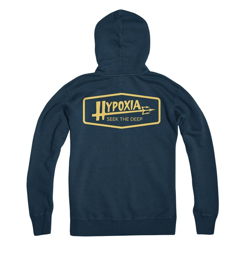 Hypoxia Freediving Spearfishing Poseidon Hoodie Navy Back