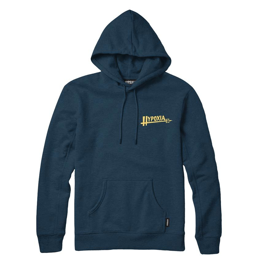 Hypoxia Freediving Spearfishing Poseidon Hoodie Navy FRONT