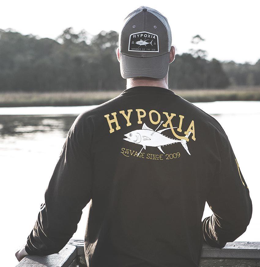 Hypoxia Freediving Spearfishing Straight Savage Longsleeve Tshirt Black Back Model