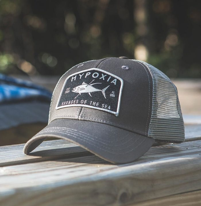 Savagery Tuna Coyote Freediving Spearfishing Trucker Hat Outside