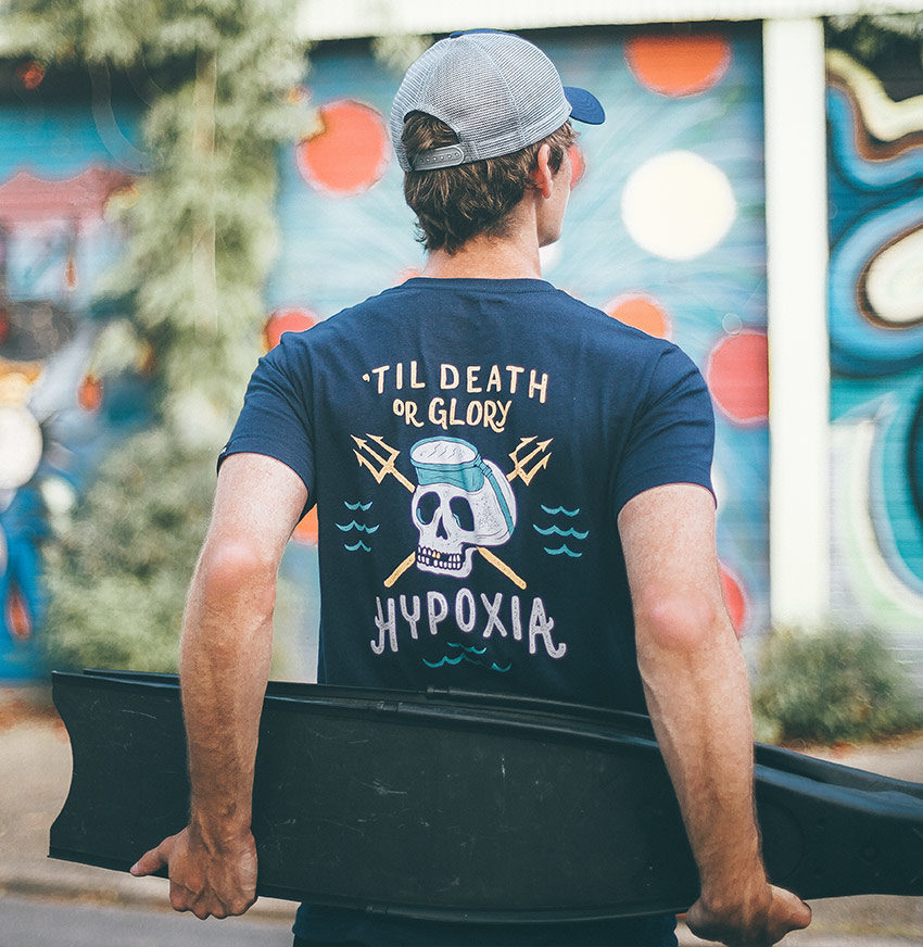 Hypoxia Freediving Spearfishing Death or Glory Tshirt Navy Back Model