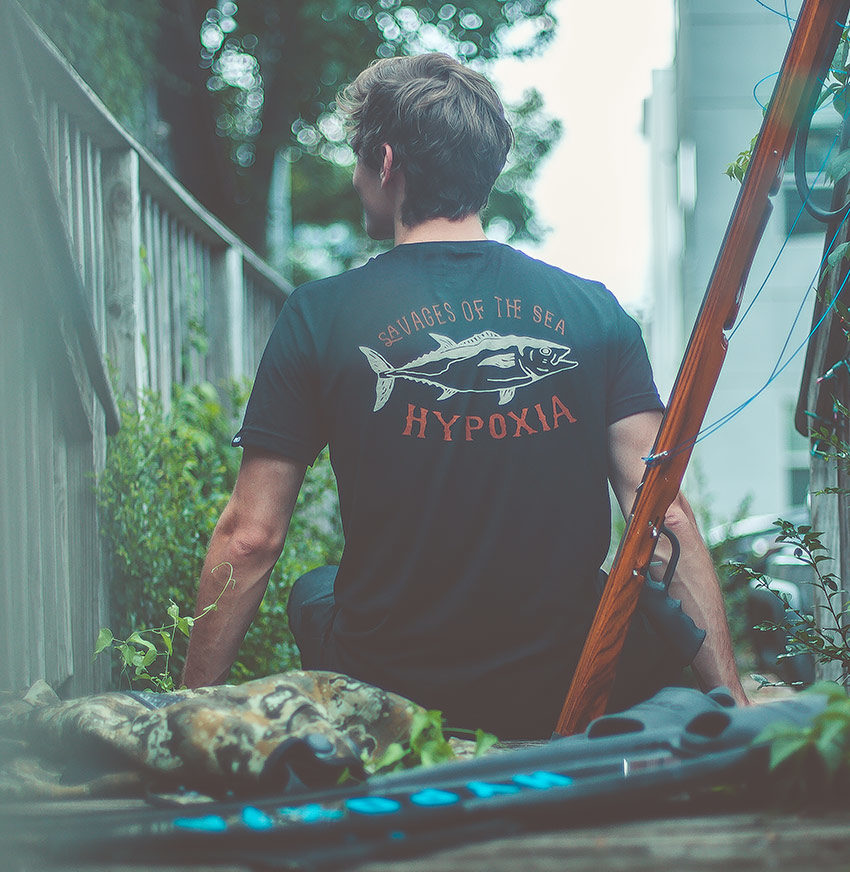 Hypoxia Freediving Spearfishing Dogtooth Tuna Savages Tshirt Black Back Model