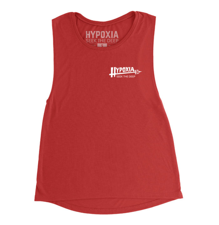 Hypoxia Freediving Spearfishing Lil Poseidon Womens Tank Red Front