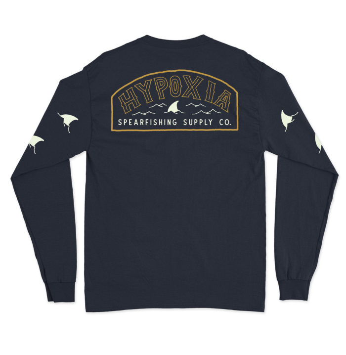 Hypoxia Freediving Spearfishing Fin Badge Longsleeve Boat Tee Tshirt Navy Back