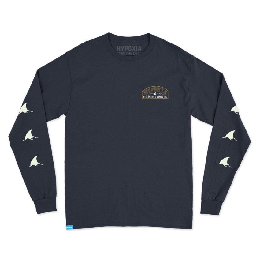 Hypoxia Freediving Spearfishing Fin Badge Longsleeve Boat Tee Tshirt Navy Front