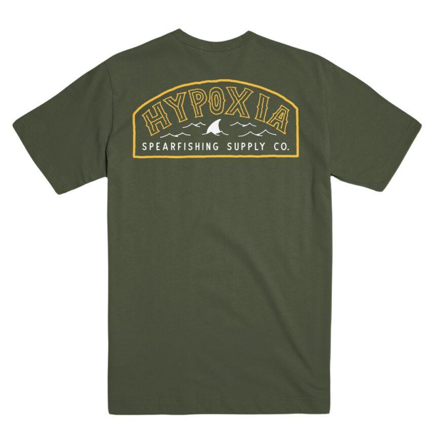 Hypoxia Freediving Spearfishing Fin Badge Tshirt Moss Back