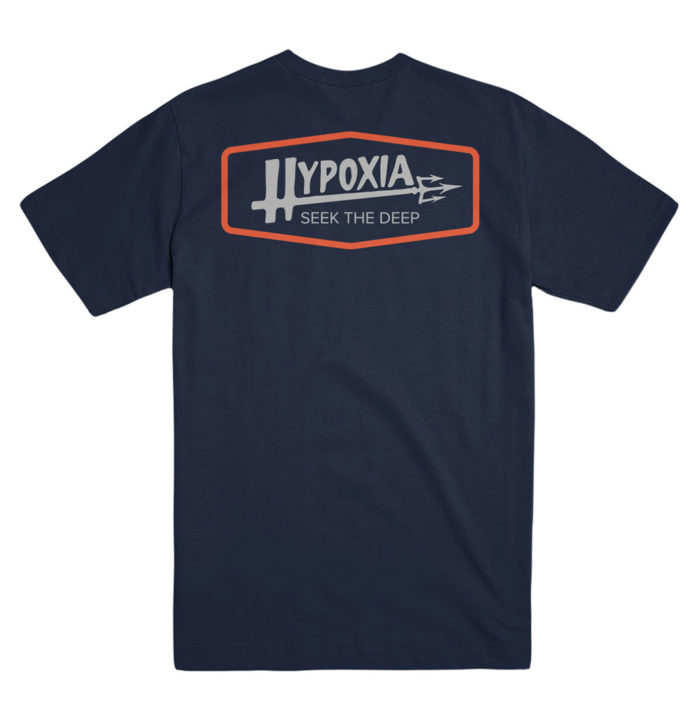 Hypoxia Freediving Spearfishing Poseidon Tshirt Navy Back