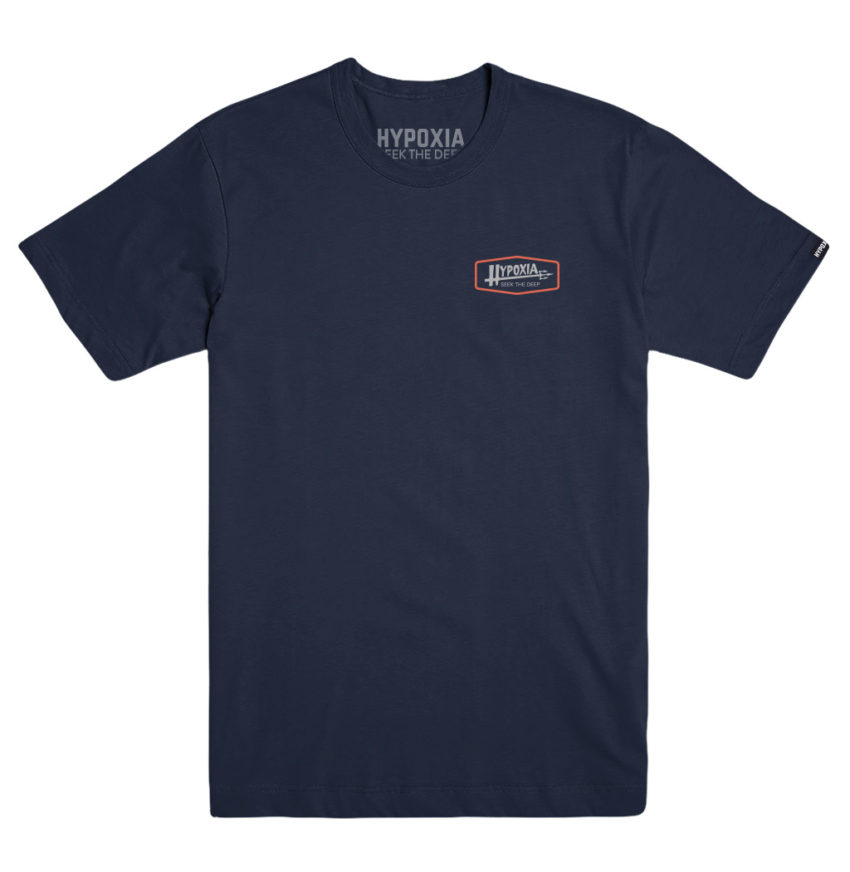 Hypoxia Freediving Spearfishing Poseidon Tshirt Navy Front