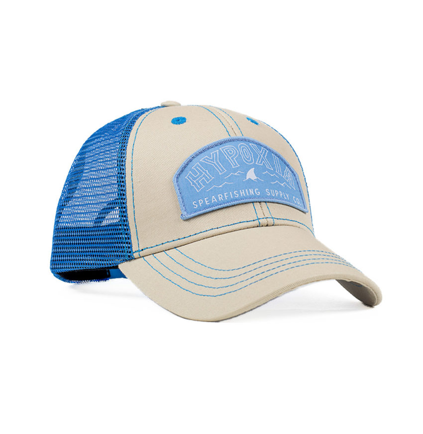 HYPOXIA Fin Badge Cream Dream Freediving Spearfishing Trucker Hat Front