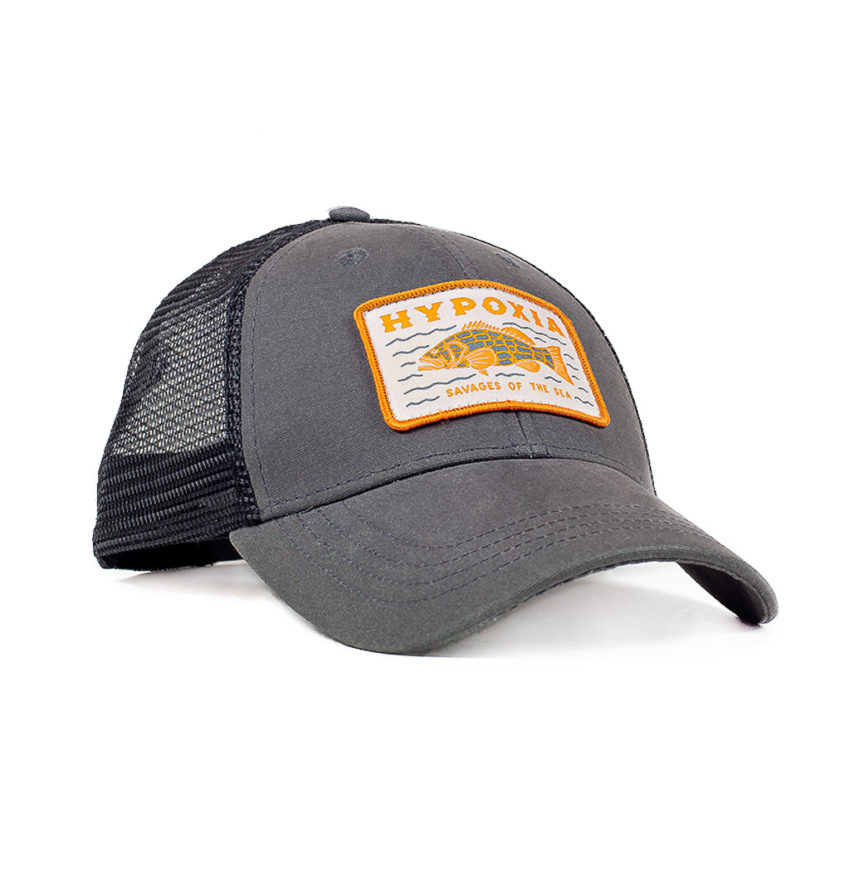 Savage Grouper Charcoal Freediving Spearfishing Trucker Hat Front
