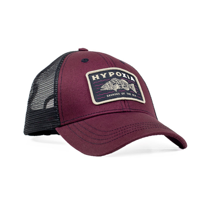 HYPOXIA Savage Grouper Garnet Freediving Spearfishing Trucker Hat Front