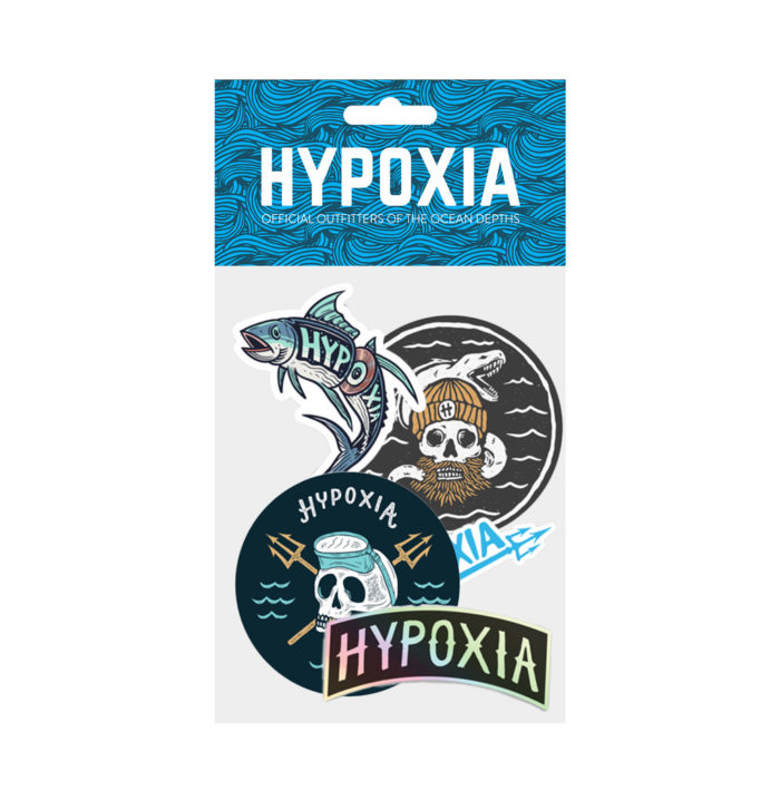 Hypoxia Freediving Spearfishing 5pc Sticker Pack 3 Decals Various Colors
