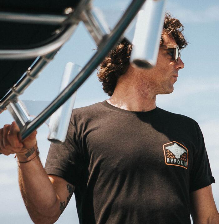 Hypoxia Freediving Spearfishing Eagle Ray Adventure Tshirt Black Breast Print Closeup