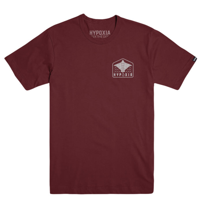 Hypoxia Freediving Spearfishing Eagle Ray Adventure Tshirt Cardinal Front