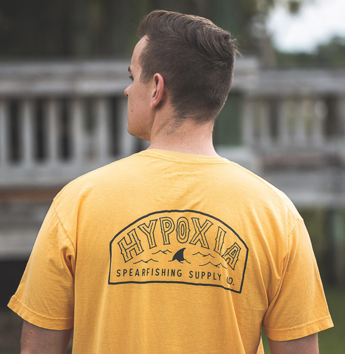 Hypoxia Freediving Spearfishing Fin Badge Tshirt Pigment Pineapple Model Back