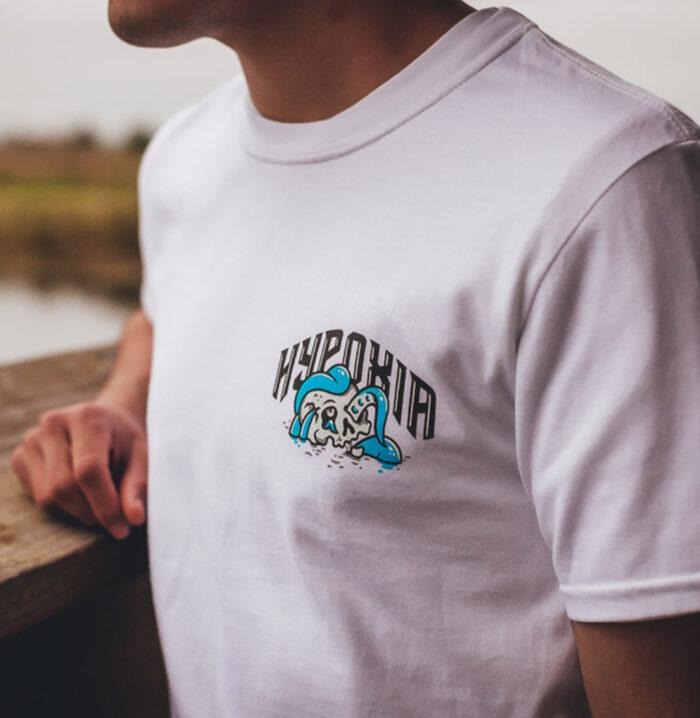 HYPOXIA Freediving Spearfishing Definition Redux Tshirt White Model Front